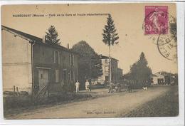 55 NUBECOURT . Café De La Gare Et Route Départementale Animée , édit : Ogier Buraliste , écrite En 1928, état Extra - France