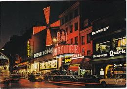 Paris: PEUGEOT 305, RENAULT 16 - 'Hamburger Quick' & 'Parapount' Neon - Le Moulin Rouge - Montmartre La Nuit - Toerisme
