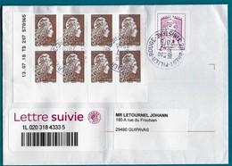 FRANCE Marianne  L'ENGAGÉE 2018  8 X0,10 € Coin Daté Adhésif Sur Enveloppe Suivie  Cachet Rond Du 31/07/2018 - France