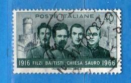 Italia °- 1966 -  BATTISTI-CHIESA-SAURO.  Unif. 1032.  Vedi Descrizione. - 6. 1946-.. Repubblica