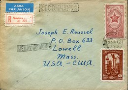 41559 Russia, Circuled Registered Cover 1956 From Moscow To U.s.a. - 1923-1991 USSR