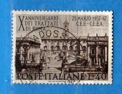 Italia °- 1967 - TRATTATI Di ROMA.  Unif. 1036.  Vedi Descrizione. - 6. 1946-.. Repubblica