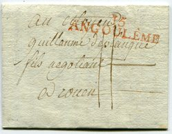 CHARENTE De BONNEVILLE LAC Du 29/05/1799 Linéaire Rouge 57x12 De ANGOULEME Et Taxe De 11 Pour ROUEN - Marcophilie (Lettres)