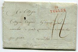 CORREZE De ST JULIEN AUX BOIS LAC Du 01/09/1793 Linéaire Rouge 25x9 De TULLE Et Taxe De 12 Pour AVRANCHES - Marcophilie (Lettres)