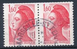 France -Liberté 1,60 Rouge YT 2187 Obl. (paire De Carnet Horizontale) - 1982-90 Liberté De Gandon