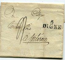 BASSES ALPES De DIGNE LAC Du 21/06/1798 Linéaire 32x14 Et Taxe De 4 Pour SISTERON - Marcophilie (Lettres)