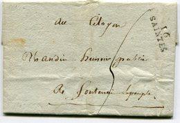 """CHARENTE MARITIME De SAINTES LAC Du 26/03/1797 Linéaire 26x9 Et Taxe De 5 Pour """"FONTENAY LE PEUPLE"""" - Marcophilie (Lettres)"""