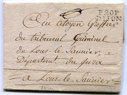 COTE D OR De DIJON LAC Du 30/07/1797 Linéaire De Port Payé 22x9 + Verso Taxe De 5 Pour LONS LE SAUNIER - Marcophilie (Lettres)