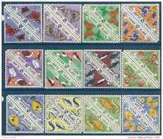 VIGNETTES HERM Ile Locale 12 Timbres Papillons, Oiseaux, Fleurs **, Triangulaire, En Paire, 2 Séries - Fantasy Labels