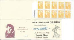 Carnet Privé A.P.C. Chalon Sur Saône 2012 - Carnet à Théme Grands Ecrivains -François De CHATEAUBRIAND - Booklets
