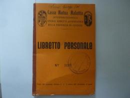 """Libretto """"Cassa Mutua Malattia  Operai E Addetti All'Industria Della Provincia Di Cosenza LIBRETTO PERSONALE"""" 1939 - Documents Historiques"""