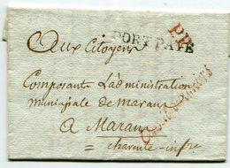 PARIS LAC Du 2/02/1799 Marque Conseil Des Anciens Rouge(Senechal 886b)+linéaire Port Payé + Verso Taxe De 11 Pour MARANS - Marcophilie (Lettres)