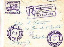 Salvador - Lettre Recom De 1932 - Oblit San Salvcador - Exp Vers Charleroi - Cachet De New York - El Salvador