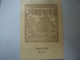 "Menu ""MEETING  DEL 9 GIUGNO 1981 25° CHARTER NIGHT LIONS CLUB FERRARA"" - Menu"