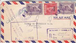 Salvador - Lettre Recom De 1949 - Oblit San Salvcador - Exp Vers Charleroi - Vol Par Clipper - Cachet De Washington - Salvador