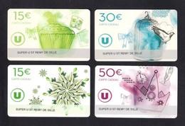 4  Carte Cadeau Super U  ST REMY DE SILLE  (72).   Gift Card. Geschenkkarte - Cartes Cadeaux