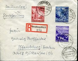 41566 Germany Reich,circuled Registered Cover 1941 Mi-807/9 Steiermark,karnten,pettau,triglav,veldes - Germany