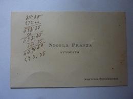 """Cartoncino Da Visita """"NICOLA FRANZA AVVOCATO Nocera Inferiore"""" Retro Manoscritto Con Data 1907 - Cartoncini Da Visita"""