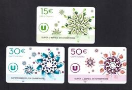 3  Carte Cadeau Super U  MAREIL EN CHAMPAGNE (72).   Gift Card. Geschenkkarte - Cartes Cadeaux