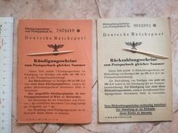 WW2 DEUTSCHE REICHPOST RUCKZAHLUNGSSCHEINE NAZI GERMANY WWII POST POSTAL CARD TICKET DOCUMENT POST SAVING BOOK  POSTSPAR - Documents Historiques