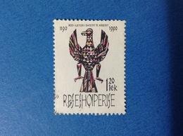 1990 ALBANIA SHQIPERISE STEMMA AQUILA 120 Lek FRANCOBOLLO USATO STAMP USED - Albania