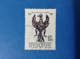 1991 ALBANIA SHQIPERISE ANNIVERSARIO STEMMA AQUILA 120 Lek FRANCOBOLLO USATO STAMP USED - Albania