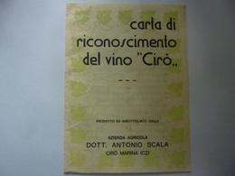 """Pieghevole """"CARTA DI RICONOSCIMENTO DEL VINO CIRO' Azienda Agricola DOTT. ANTONIO SCALA CIRO' MARINA ( CZ )"""" - Advertising"""
