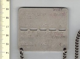 M B - BELGISCH LEGER - IDENTITEITS PLAATJE - BUSSELS G - S/39957 - Equipement