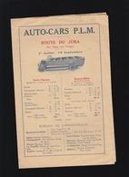 Autocar - P.L.M. - Route Du Jura - Horaires Services De La Faucille Port-Lesney, Salins, Champagnole - Publicité