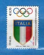 Italia- °-2014- COMITATO OLIMPICO - Unif. 3546.  Usato.   Vedi Descrizione - 6. 1946-.. Repubblica