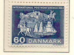 PIA - DANIMARCA -1963 : Centenario Della Prima Conferenza Postale Mondiale Di Parigi   - (Yv 427a) - Danimarca