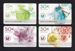 4 Carte Cadeau SUPER U   STE JAMME SUR SARTHE (72).    Gift Card. Geschenkkarte - Gift Cards