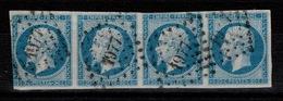 YV 14A Bande De 4 , PC 1977 De Metz, 1er Timbre Touché Ouest & 1 Trou D'1 Micron, Sinon Marges Bonnes, Pas Aminci - 1853-1860 Napoleone III