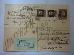 """Cartolina Postale """"ASSICURATA"""" Viaggiata Da  Rossiglione A Genova 1943 - 1900-44 Vittorio Emanuele III"""