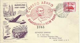 ESPAÑA, SOBRE VUELO BARCELONA/NEW YORK CON SELLO EDIFIL 1039 - 1931-50 Cartas
