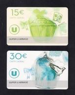2  Carte Cadeau Super U  ARNAGE (72).   Gift Card. Geschenkkarte - Cartes Cadeaux