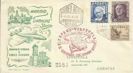 ESPAÑA, SOBRE PRIMER VUELO MADRID/CARACAS - 1931-50 Cartas