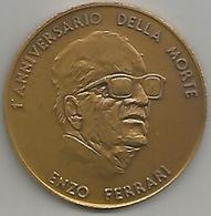 Ferrari Enzo, Auto Ferrari, 1989, Medaglia Commemorativa 1° Anniversario Della Morte, Bronzo, Mm. 42. - Italia