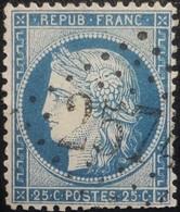 FRANCE Y&T N°60A Cérès 25c Bleu. Oblitéré Losange GC. N°2574 - 1871-1875 Ceres