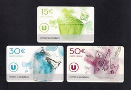 3  Carte Cadeau Hyper U  ECOMMOY (72).   Gift Card. Geschenkkarte - Cartes Cadeaux