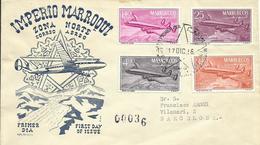 MARRUECOS, PRIMER VUELO ZONA NORTE CON SELLOS EDIFIL  9/12 - Marruecos Español
