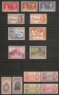 VIRGIN ISLANDS 1937 - 1951 COMMEMORATIVE SETS LIGHTLY MOUNTED MINT Cat £11.70 - British Virgin Islands