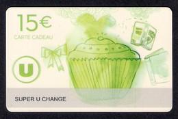 1  Carte Cadeau Super U  CHANGE (72).   Gift Card. Geschenkkarte - Cartes Cadeaux