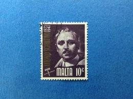 1974 MALTA SCULTORE SCIORTINO 10 C FRANCOBOLLO USATO STAMP USED - Malta