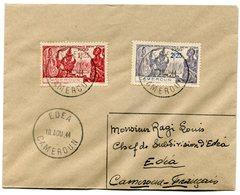 RC 11320 CAMEROUN N° 160 / 161 EXPOSITION DE NEW YORK SUR LETTRE OBL. EDEA EN 1944 TB - Cameroun (1915-1959)