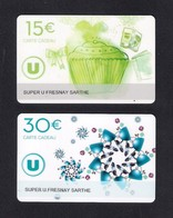 2  Carte Cadeau Super U  FRESNAY SUR SARTHE (72).   Gift Card. Geschenkkarte - Cartes Cadeaux