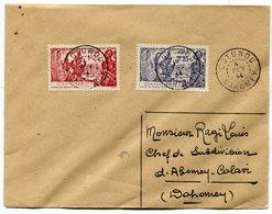 RC 11321 DAHOMEY N° 113 / 114 EXPOSITION DE NEW YORK SUR LETTRE OBL. COTONOU EN 1944 TB - Dahomey (1899-1944)
