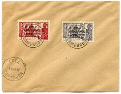 RC 11322 CAMEROUN N° 247 / 248 +10frs AMBULANCE LAQUINTINIE SUR EXPOSITION DE NEW YORK SUR LETTRE OBL. EDEA 1944 TB - Cameroun (1915-1959)