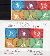 Olympiade Tokio 1964 LIBYA 166/1ZD+Block 8B ** 26€ Fußball Hürden Radsport Kunstsprung Ss Box Bloc Sheet Bf Olympic - Libye