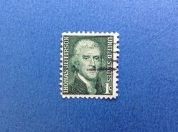 1968 USA STATI UNITI THOMAS JEFFERSON ORDINARIO 1 C FRANCOBOLLO USATO STAMP USED - United States